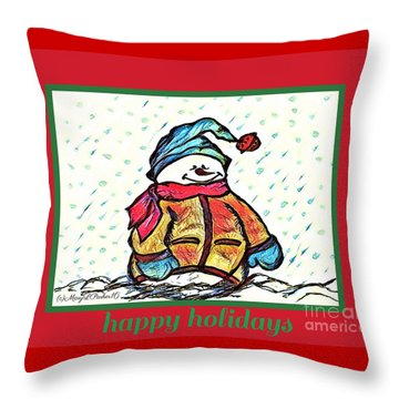 Happy Holidays Snowman Throw Pillow by MaryLee Parker