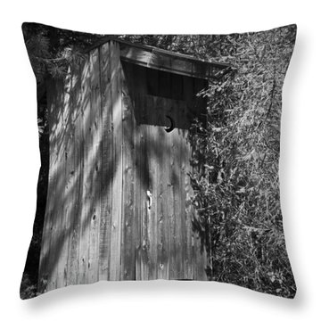 Happy Hollow Outhouse Throw Pillow