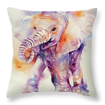 Happy Holly Baby Elephant Throw Pillow