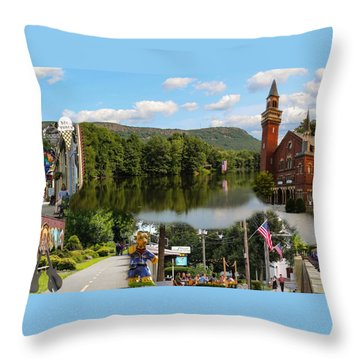 Happy In Easthampton Collage Throw Pillow