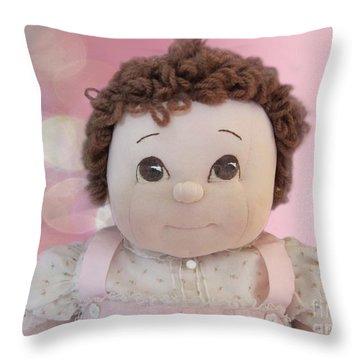 Happy Is... Throw Pillow by Victoria Harrington