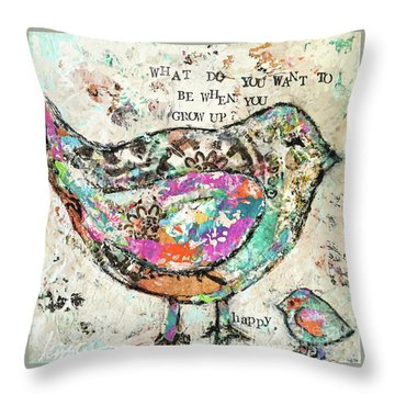 Happy Throw Pillow by Kirsten Reed
