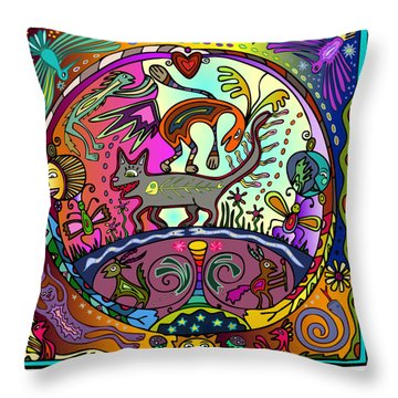 Throw Pillow featuring the digital art Happy Kitties by Marti McGinnis