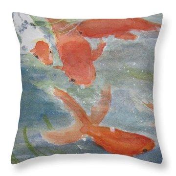 Happy Koi Throw Pillow by Elvira Ingram