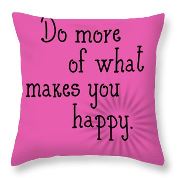 Text Art Happy Throw Pillow