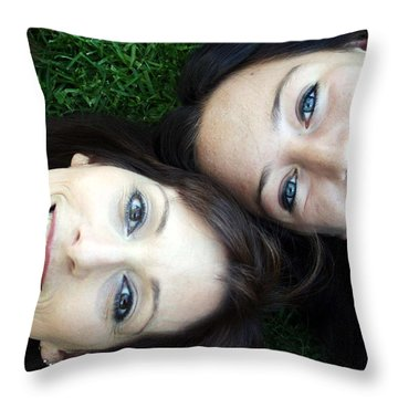 Happy Mom And Daughter Throw Pillow