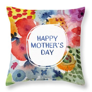Happy Mothers Day Watercolor Garden- Art By Linda Woods Throw Pillow