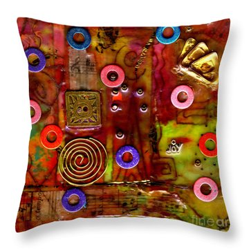 Happy Music Throw Pillow by Angela L Walker