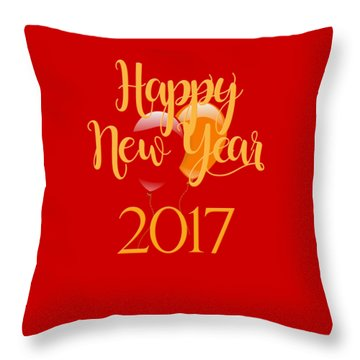 Throw Pillow featuring the digital art Happy New Year 2017 With Balloons by Heidi Hermes