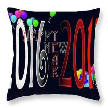 Happy New Year Card With Ballons Throw Pillow
