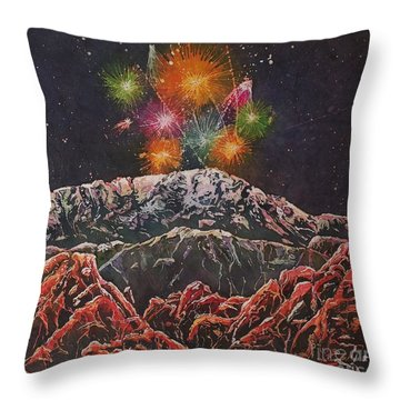 Happy New Year From America's Mountain Throw Pillow