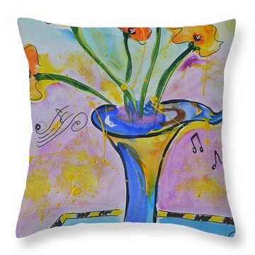 Happy Notes Throw Pillow by Teresa Tilley