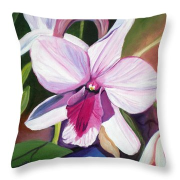 Happy Orchid Throw Pillow