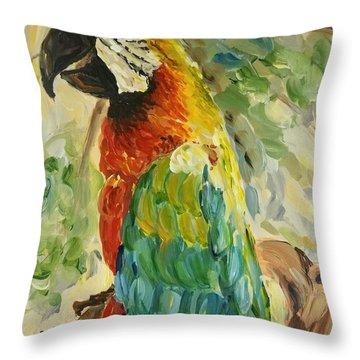 Happy Parrot Throw Pillow