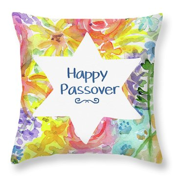 Throw Pillow featuring the mixed media Happy Passover Floral- Art By Linda Woods by Linda Woods