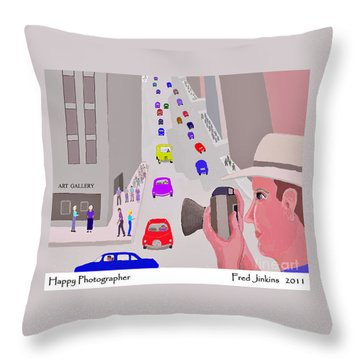 Happy Photographer Throw Pillow by Fred Jinkins