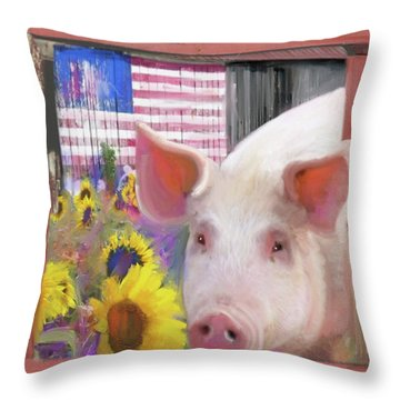Happy Pig  Throw Pillow by Julianne Ososke