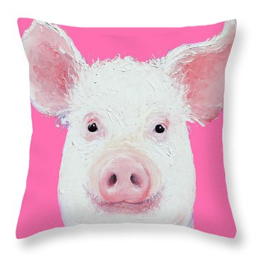 Happy Pig Portrait Throw Pillow by Jan Matson