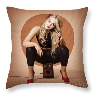 Happy Pin Up Girl Talking On Retro Box Telephone Throw Pillow