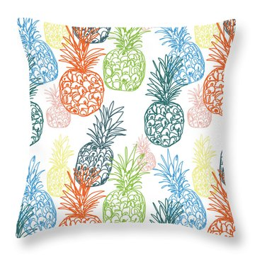 Happy Pineapple- Art By Linda Woods Throw Pillow by Linda Woods