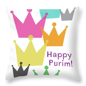 Throw Pillow featuring the mixed media Happy Purim Crowns - Art By Linda Woods by Linda Woods