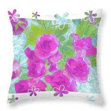 Happy Roses Throw Pillow