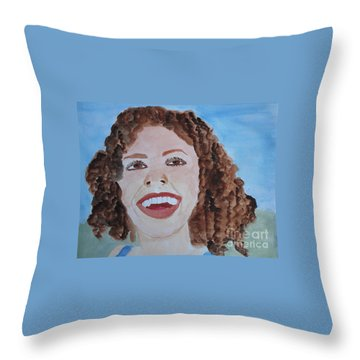 Throw Pillow featuring the painting Happy by Sandy McIntire