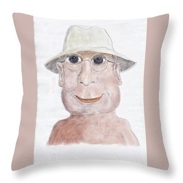Happy Senior Throw Pillow by Fred Jinkins