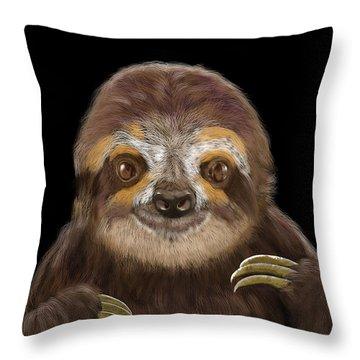 Happy Three Toe Sloth Throw Pillow