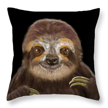 Happy Three Toe Sloth Throw Pillow