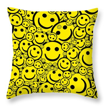 Happy Smiley Faces Throw Pillow