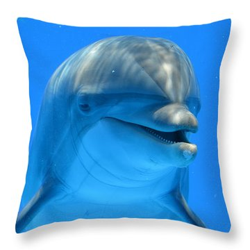 Happy Smiling Dolphin Throw Pillow