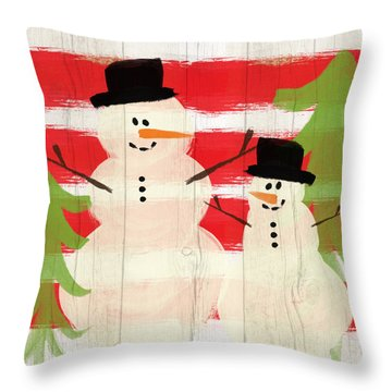 Happy Snowmen- Art By Linda Woods Throw Pillow
