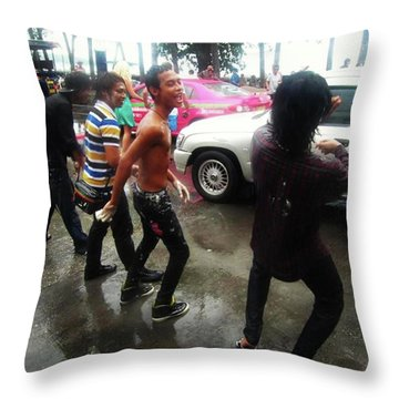 Throw Pillow featuring the photograph Happy Songkran. The Water Splashing by Mr Photojimsf