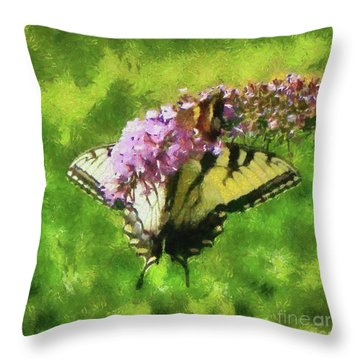 Happy Swallowtail Butterfly Throw Pillow