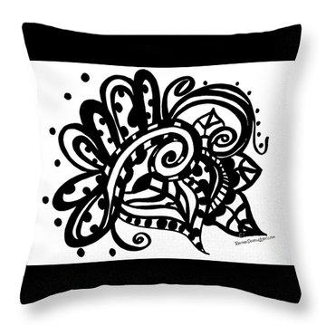 Happy Swirl Doodle Throw Pillow