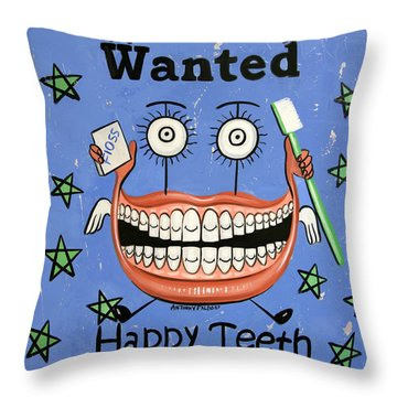 Happy Teeth Throw Pillow by Anthony Falbo