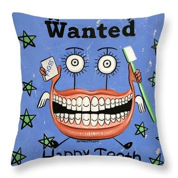 Happy Teeth Throw Pillow