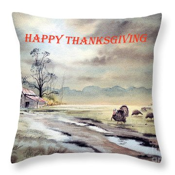 Happy Thanksgiving  Throw Pillow by Bill Holkham