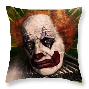 Happy The Clown Throw Pillow by Jeremy Martinson