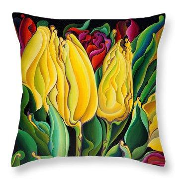Happy-time Yellow Three-lips Throw Pillow