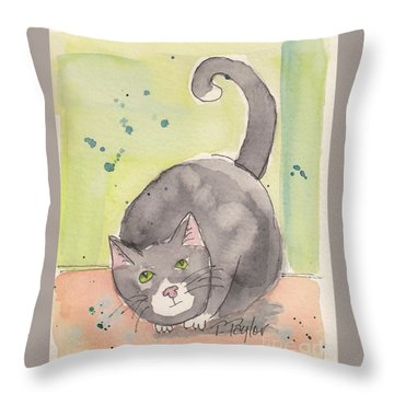 Happy Tuxedo Throw Pillow by Terry Taylor