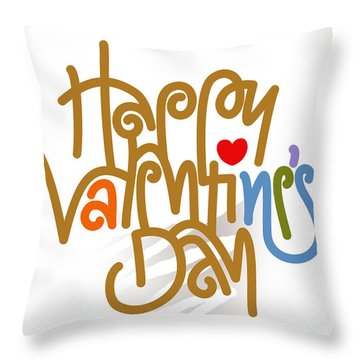 Happy Valentine's Day Poster Throw Pillow