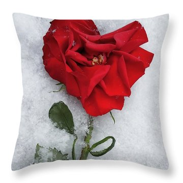 Snow Valentine Throw Pillow