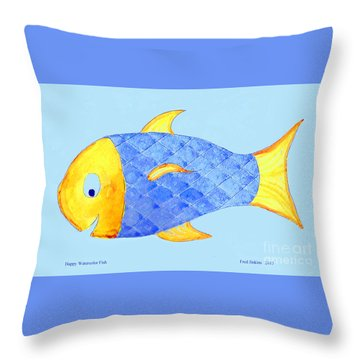 Happy Watercolor Fish Throw Pillow by Fred Jinkins