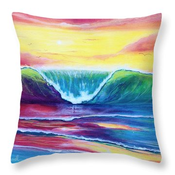 Happy Wave Throw Pillow