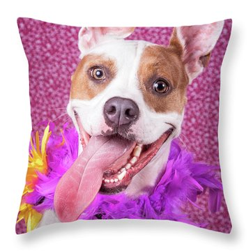 Hapy Dog Throw Pillow by Stephanie Hayes