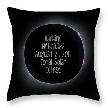 Harbine Nebraska Total Solar Eclipse August 21 2017 Throw Pillow