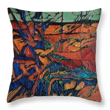 Throw Pillow featuring the painting Harbingers by Bernard Goodman