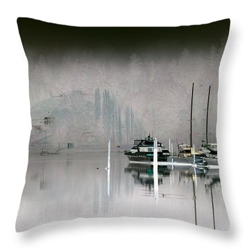 Harbor And Boats Throw Pillow